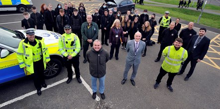 Cllr Jim McMahon with Ayrshire Roads Alliance Road Safety, Head of Campus Peter Gilchrist and our community planning partners