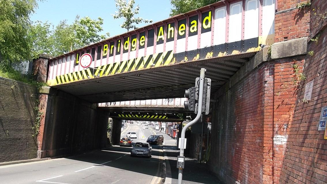 Collision protection beams to be installed on railway bridge in Stoke: Stoke Road bridge, Stoke, where collision protection beams will be installed.