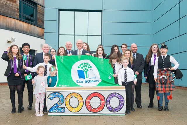 2000th Green Flag: Deputy First Minister John Swinney celebrates Scotland's 2000th Green Flag for Eco-Schools with pupils and staff from St Johns RC Academy in Perth, the Chief Executive of the Foundation for Environmental Education Daniel Schaffner and Bruce Robertson Charity Trustee Keep Scotland Beautiful.