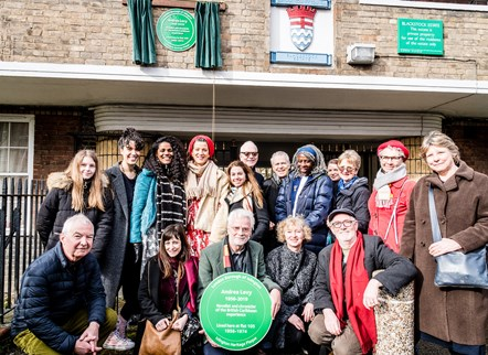 Author Andrea Levy celebrated with Islington Heritage Plaque: Family and friends of Andrea Levy with Bill Mayblin (centre), Andrea's husband