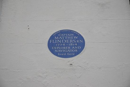 Flinders Blue plaque on Fitzroy Street September 2020: The Plaque of Captain Matthew Flinders found on Fitzroy Street (Archaeology, Euston, London, Britain's biggest dig, Britain) Internal Asset No. 18787