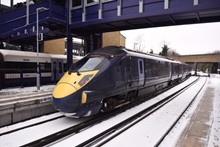 Class 395 in snow at Gravesend 4