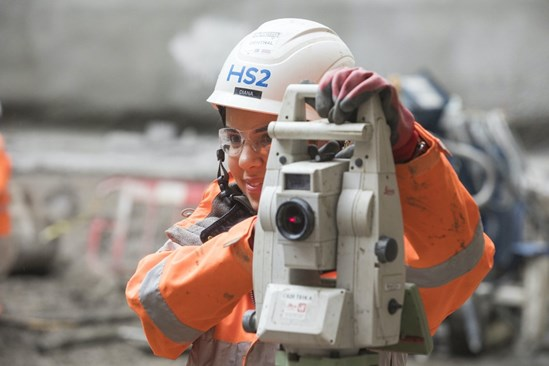 HS2 worker operating ground surveying equipment