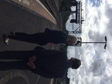 Amanda Milling MP visiting electrification work at Walsall station