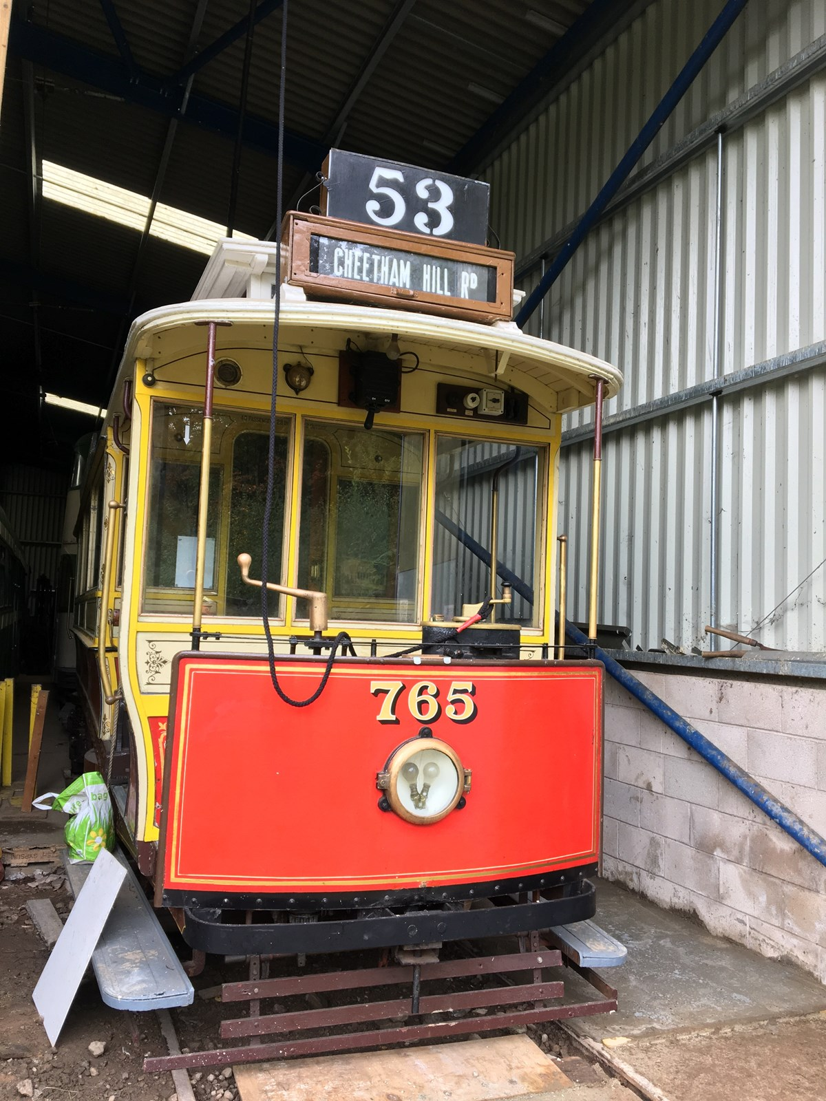 Heaton Park Tramway heritage tram in shed