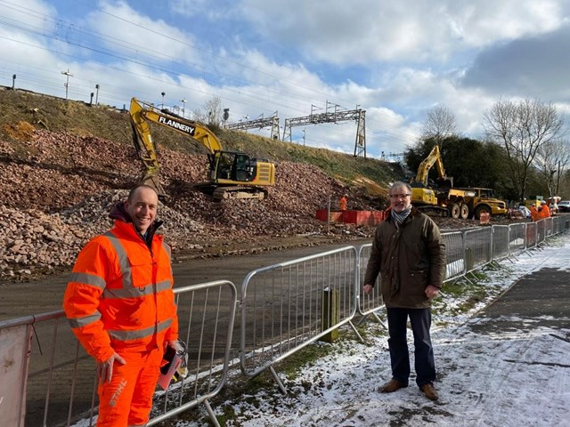 MP for Rugby Mark Pawsey with Network Rail engineer Luke Swain at Hillmorton landslip repair 11 Feb 2021