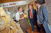 Scottish food and drink: Rural Affairs Secretary Richard Lochhead visited I.J. Mellis Cheesemonger in Edinburgh to announce Scotland's food and drink industry has a new £16.5 billion turnover target after smashing its old target six years ahead of schedule: t.co/TAGciExOT1   Richard Lochhead with Chief Exec of Scotland Food and Drink James Withers and David Lamont Cheesemonger at I.J. Mellis Cheesemonger in Edinburgh.  Picture by Chris Watt. 07887 554 193.