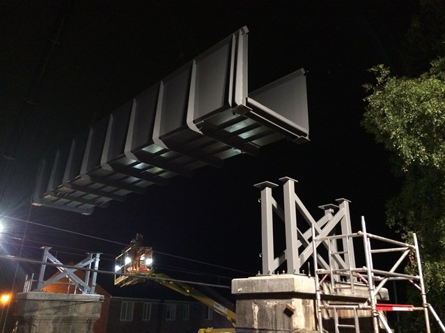 Early opening of Penrith's new £1.1m footbridge over the West Coast main line: Gillwilly footbridge bridge lift