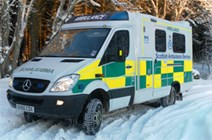 NHS winter update: NHS Ambulance in the snow / winter