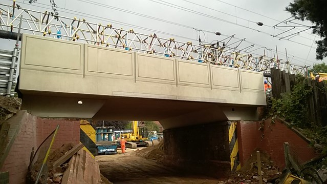 Photos: NASA-like installation of new railway bridge in Norwich: Installed bridge Long John Hill