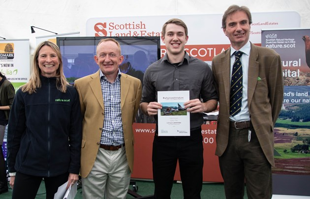 Nature short film competition winners revealed: Pictured left to right at the Royal Highland Show are SNH Chief Executive Francesca Osowska, SNH Chair Mike Cantlay, Overall competition winner Gregory Vaux and SLE Chairman David Johnstone