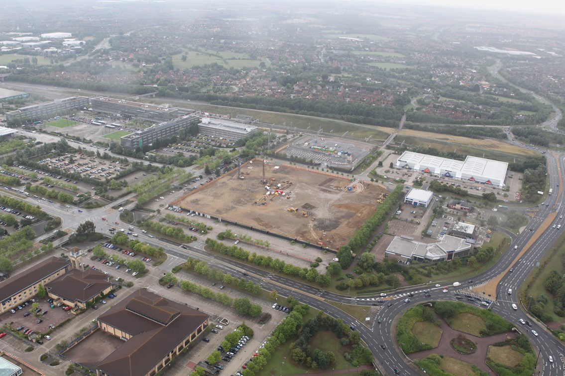 August 2010: August 2010 - the National Centre site prior to construction. Milton Keynes Central station can be seen top-left from the site, with the West Coast Main Line running along the top.