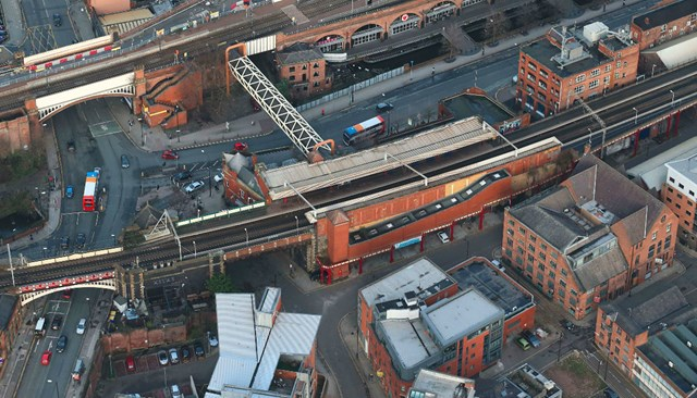 Major railway bridge in Manchester city centre to be restored: Aerial image of Deansgate bridge in Manchester