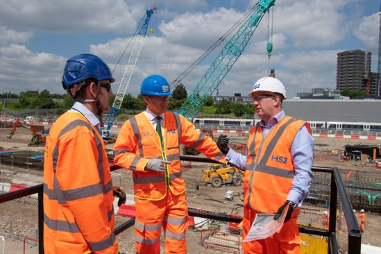 Old Oak Common start of construction works: Transport Secretary Grant Shapps MP meets Mark Thurston and Matthew Botelle before signaling the start of permanent construction on HS2's Old Oak Common station