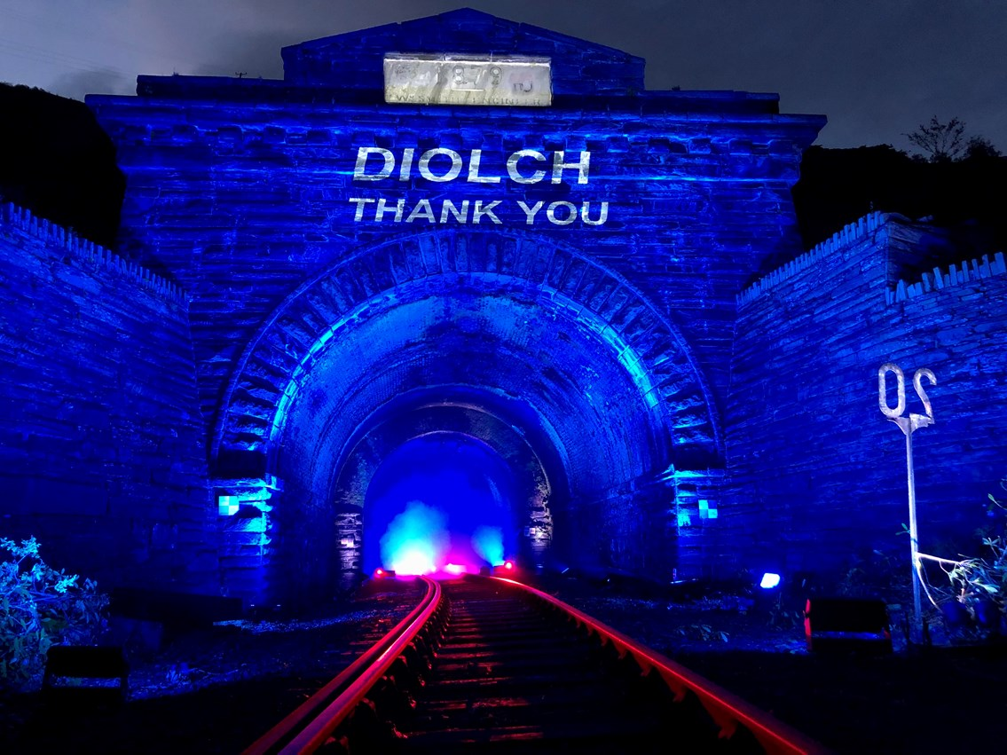 Blaenau Ffestiniog tunnel went blue for NHS and all critical workers: Blaenau Ffestiniog 9
