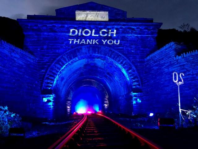 Blaenau Ffestiniog tunnel went blue for NHS and all critical workers: Blaenau Ffestiniog 9