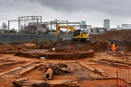 Curzon St site turntable archaeology image 1: HS2 Ltd has unearthed what is thought to be the world's oldest railway roundhouse at the construction site of its Birmingham Curzon Street station. The roundhouse was situated adjacent to the old Curzon Street station, which was the first railway terminus serving the centre of Birmingham. The roundhouse, and specifically the turntable, was used to turn around the engines so locomotives could return back down the line. Engines were also stored and serviced in these facilities. The railway's 1847 roundhouse at the southern end of the line is now better known as the world-renowned Roundhouse music venue in London's Camden.