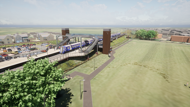 East Linton station: Artist's Impression of proposed East Linton station as viewed  from above.