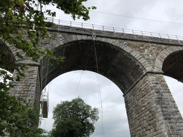 Cradles carrying out Docker Garths viaduct inspections