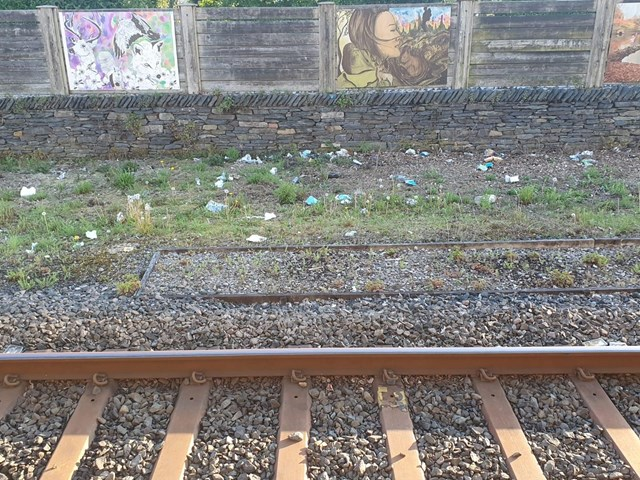 Litter gathered beside the tracks at Windermere station