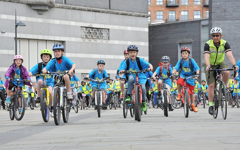 Leeds pupils take to two wheels for Bike Week: bikeweek2015riders.jpg