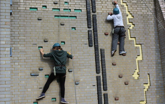 Climbing wall at Paccar Scout Campsite: Image of the current climbing wall at Paccar Scout campsite, Chalfont St Peter, Buckinghamshire, that is being replaced