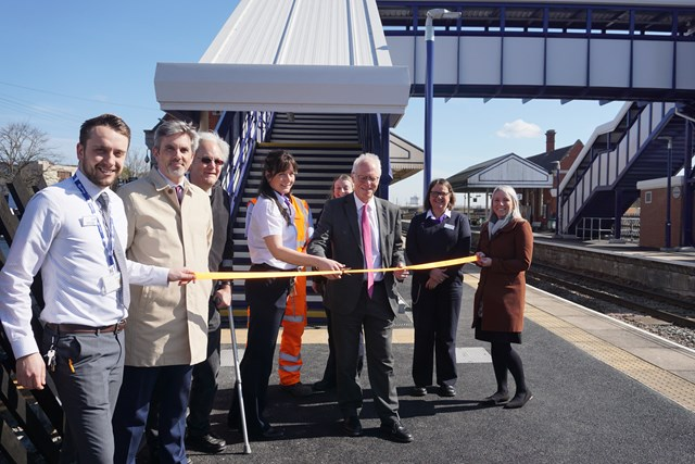 Scunthorpe station celebrates a new accessible bridge with Nic Dakin MP: Representatives from Network Rail and TransPennine Express at Scunthorpe station with Nic Dakin MP