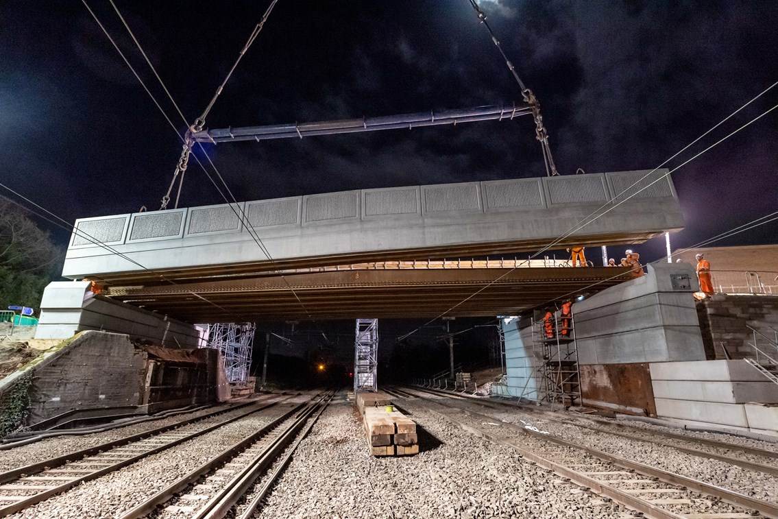 West Coast main line reopens after major phase of bridge replacement in Crewe: Sydney Road bridge being lifted into place during railway closure