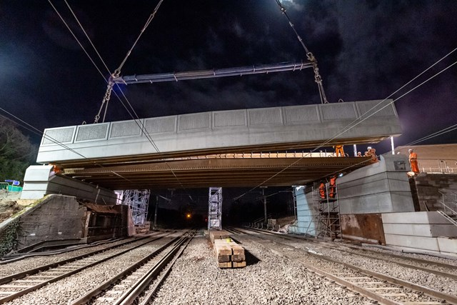Sydney Road bridge being lifted into place during railway closure