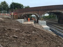 Foundation work for new Sydney Road bridge in Crewe