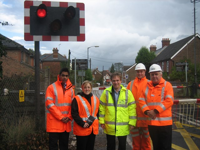 WSCC leader Henry Smith with Network Rail level crossing safety awareness team: Horsham rd lx