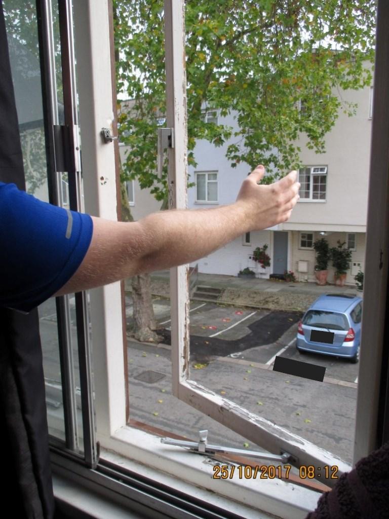 Missing window pane - 28 Penderyn Way: Missing window pane to bedroom window, 28 Penderyn Way, N7