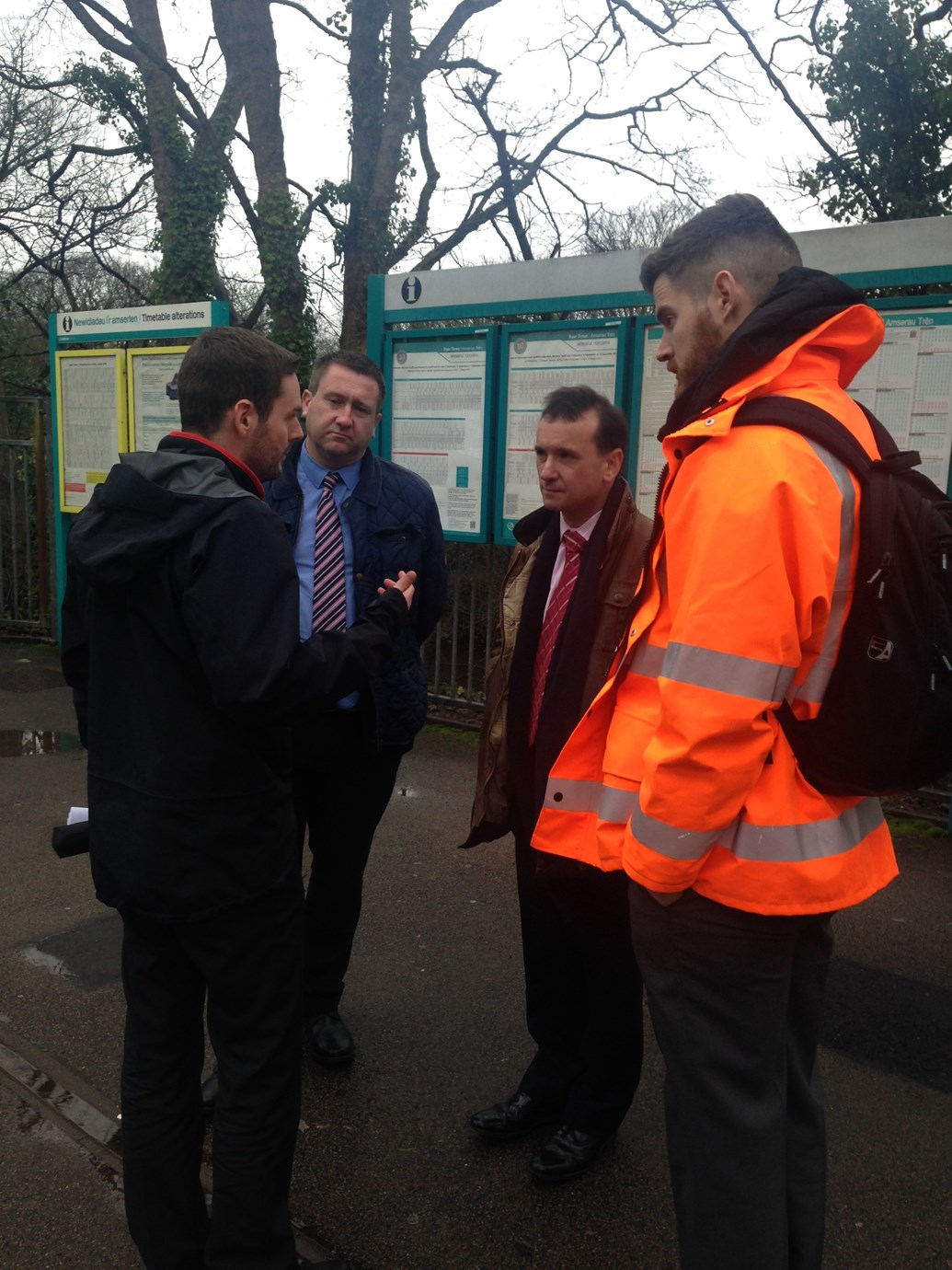 Alun Cairns tours stations ahead of work to improve accessibility for passengers in Wales: Wales Office Minister Alun Cairns with Dale Crutcher and Rhys Howells from Network Rail and Adrian Carrington from Arriva Trains Wales discussing how Access for All projects will improve accessibility for passengers.