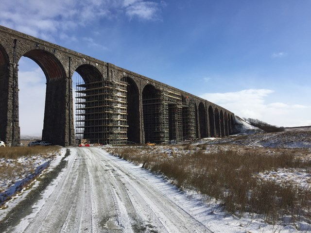 Ribblehead viaduct from valley floor in the snow - Feb 2021
