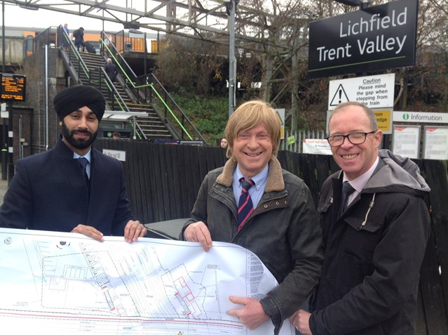 £2.3 million overhaul of Lichfield Trent Valley station underway to make it accessible for everyone: L-R Harpreet Singh-Moore (Network Rail), Michael Fabricant MP & Richard Brooks (West Midlands Railway)