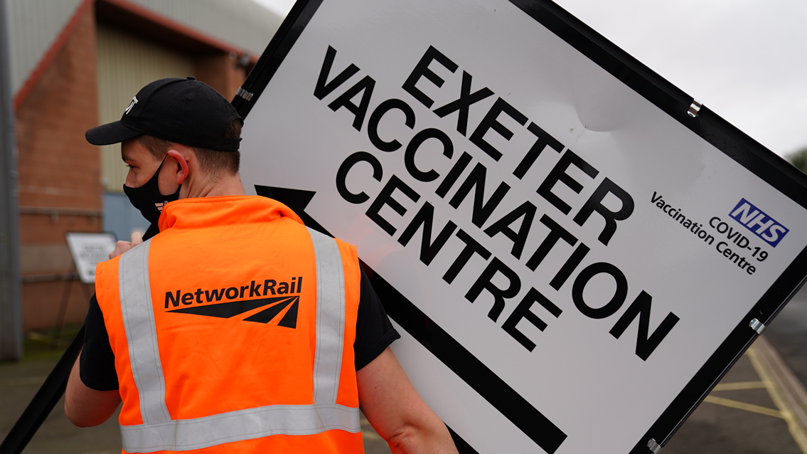 Network Rail volunteers help set up mass vaccination facility in Exeter: Network Rail volunteers help set up mass vaccination facility in Exeter