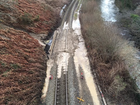 Landslip at Dinas Rhondda caused by heavy rain  - 21January 2018