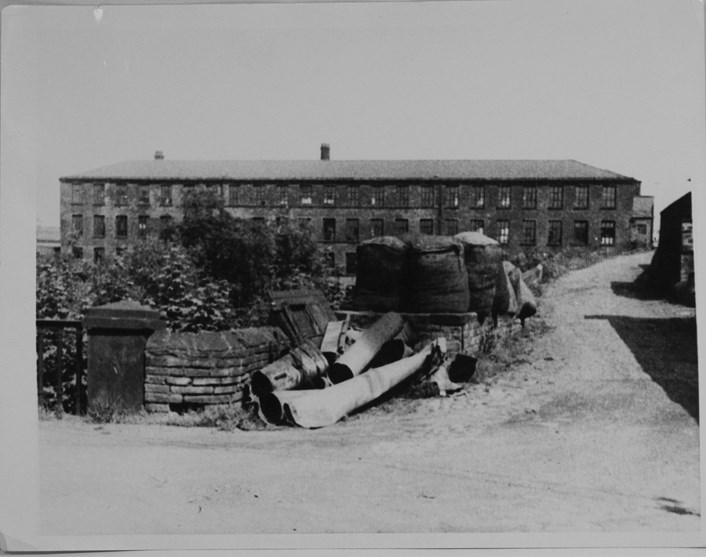 Song of the Female Textile Workers: Armley Mills with wool bales c1950s or 60s