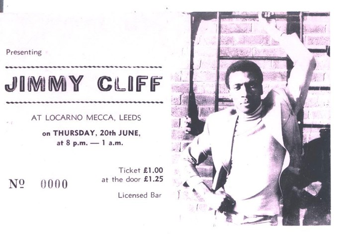 Sound of Our City: Ticket, Jimmy Cliff at Locarno Mecca, County Arcade, 1968.