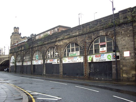 Westgate road railway arches in Newcastle - before revamp