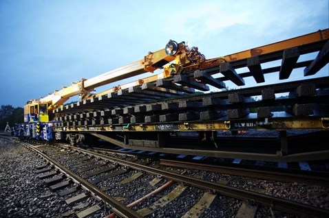 New railway track ready for installation