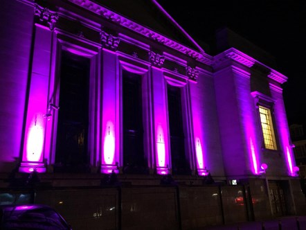 Islington Assembly Hall lit in purple June 2-3 2020 - pic 1: Picture: Islington Council