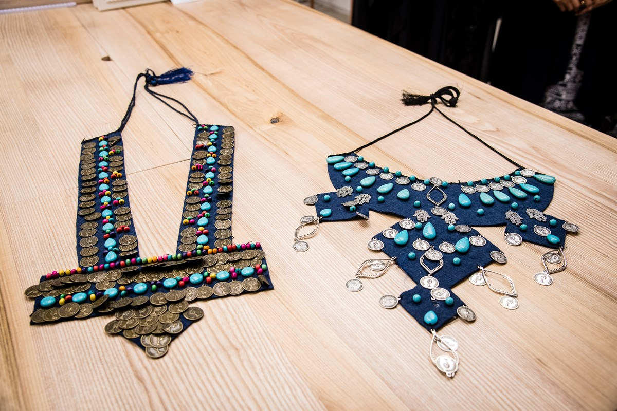 Two pieces designed by Majida Sayam of Jannaty at FC Designer Collective