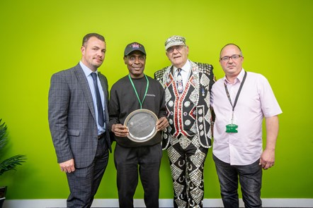 Caretaker of the Year 2019. From left: Head of Neighbourhood Services; Caretaker of the Year Francis Oduro; Pearly King of Finsbury John Walters and George Sharkey GMB Branch Secretary.: Caretaker of the Year 2019. From left: Head of Neighbourhood Services; Caretaker of the Year Francis Oduro; Pearly King of Finsbury John Walters and George Sharkey GMB Branch Secretary.