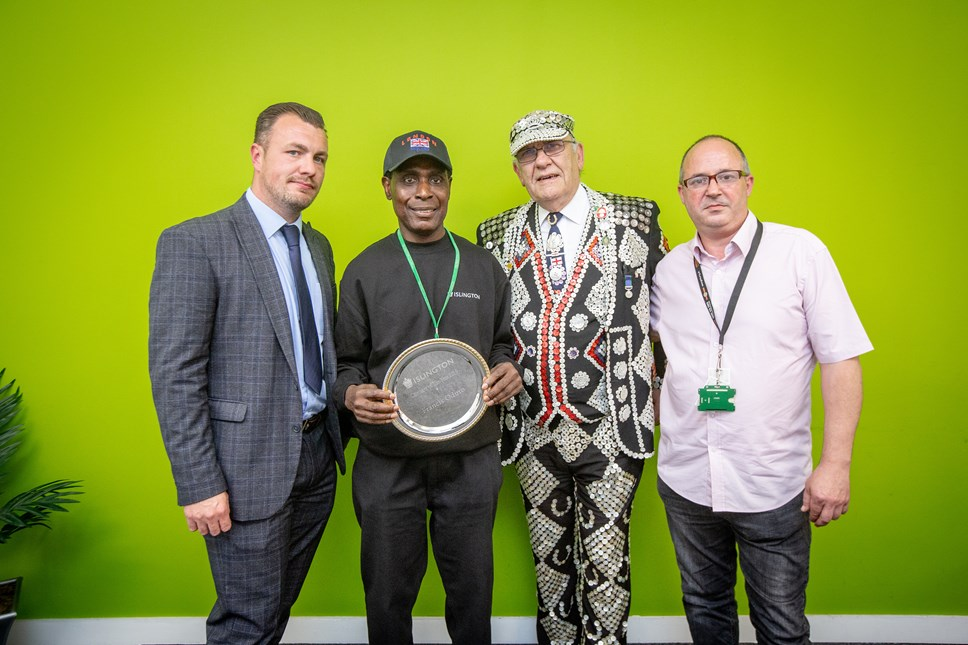 Caretaker of the year Francis Oduro is a friend to all at King's Square: Caretaker of the Year 2019. From left: Head of Neighbourhood Services; Caretaker of the Year Francis Oduro; Pearly King of Finsbury John Walters and George Sharkey GMB Branch Secretary.