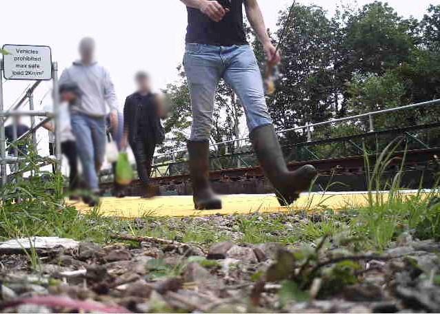 People trespassing on railway bridge