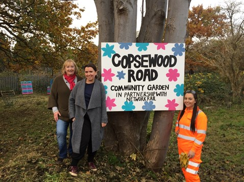 Jean and Ali, residents of Copsewood Road, Watford, with Network Rail's Gabriella Nicholas