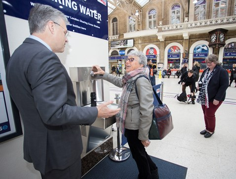 First water fountain user at London Charing Cross February 2018