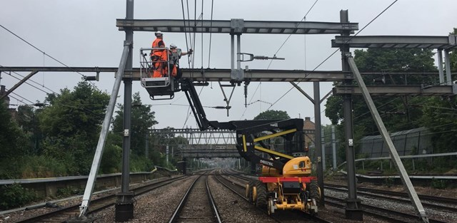 Essential upgrades completed on Norwich to London rail line: Ilford to Maryland OLE renewals GEML 8-2
