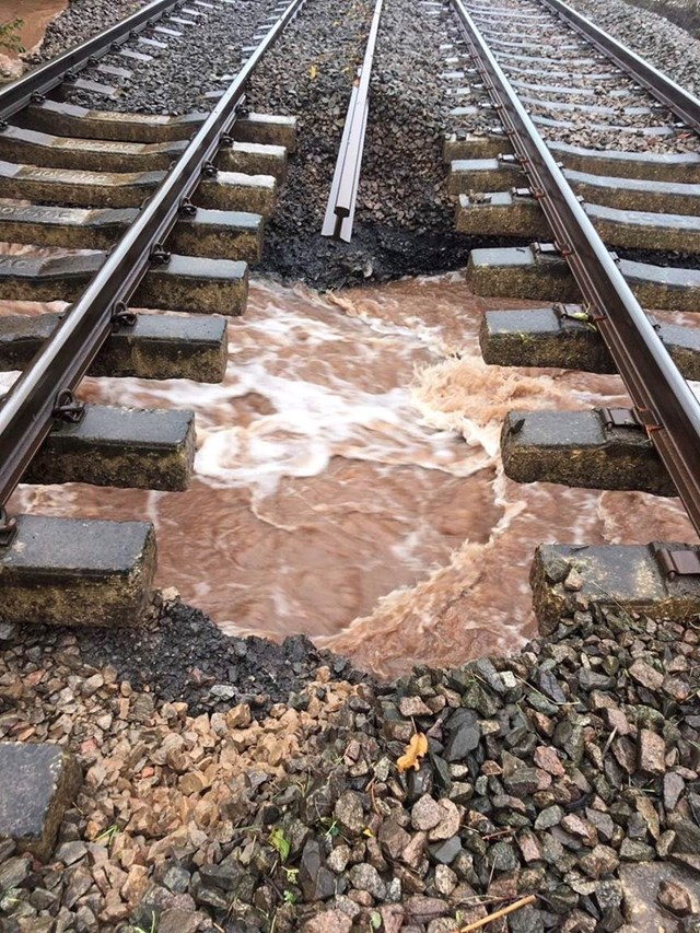 Fast flowing water underneath track at Pontrilas October 2019